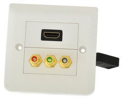 Gniazdo HDMI + 3xRCA naścienne podwójne  kwadratowe podtynkowe z przewodem G1HDRGB-KW (PL standard)