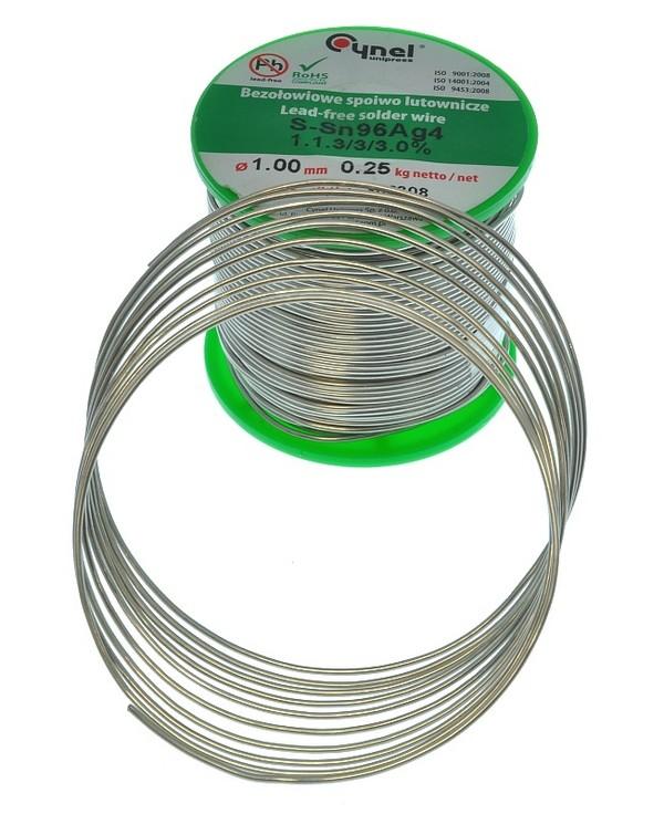 Cynel S-Sn96Ag4 Cyna (spoiwo lutownicze) bezołowiowa 4% srebra - (gr. 1mm) - szpula 250g