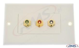 Naścienne przyłącze (gniazda) 3 x RCA (cinche) component (RGB) standard Decora