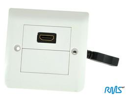Gniazdo HDMI naścienne pojedyncze kwadratowe podtynkowe z przewodem G1HDE (PL standard)