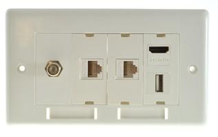 Zestaw gniazd naściennych Lindy Socket Pack 10 (2xLAN + HDMI + USB + gniazdo TV typu F)
