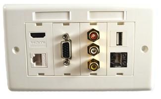 Zestaw gniazd naściennych Lindy Socket Pack 12 (USB + 3xRCA + 2xRJ-45 (LAN) + HDMI + VGA)
