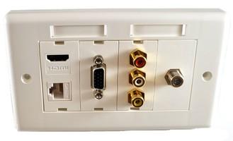 Zestaw gniazd naściennych Lindy Socket Pack 11 (VGA + RJ-45 (LAN) + HDMI + 3xRCA + TV typu F)