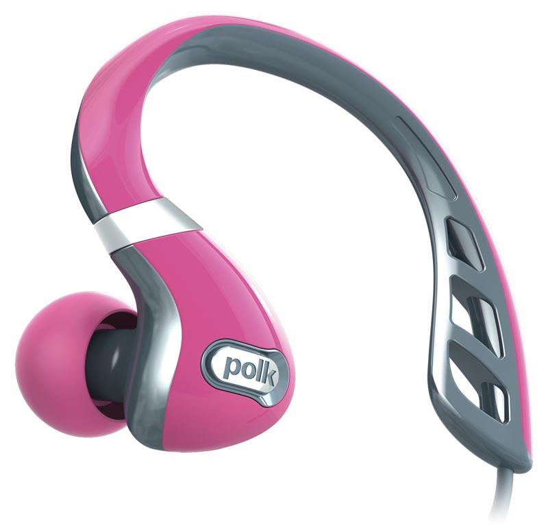Polk Audio UltraFit 3000 - słuchawki dokanałowe sportowe uniwersalne z opcją sterowania Apple Kolor: Szary/Różowy Polska Gwarancja