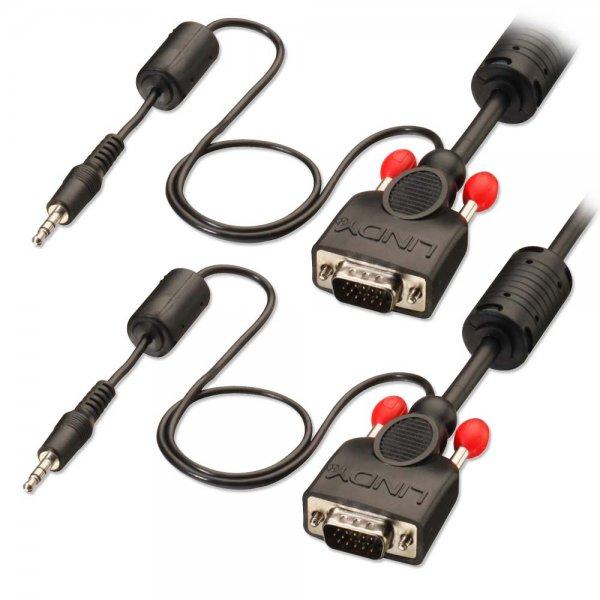Lindy 37301 Kabel VGA - VGA + Audio mini jack 3,5mm - 5m Polska Gwarancja