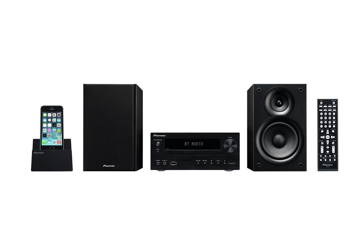 Pioneer X-HM32V (XHM32V) Zestaw stereo (miniwieża) z obsługą Apple (iPhone, iPod, iPad), radiem FM, HDMI i Bluetooth (2 x 30W) Kolor: Czarny