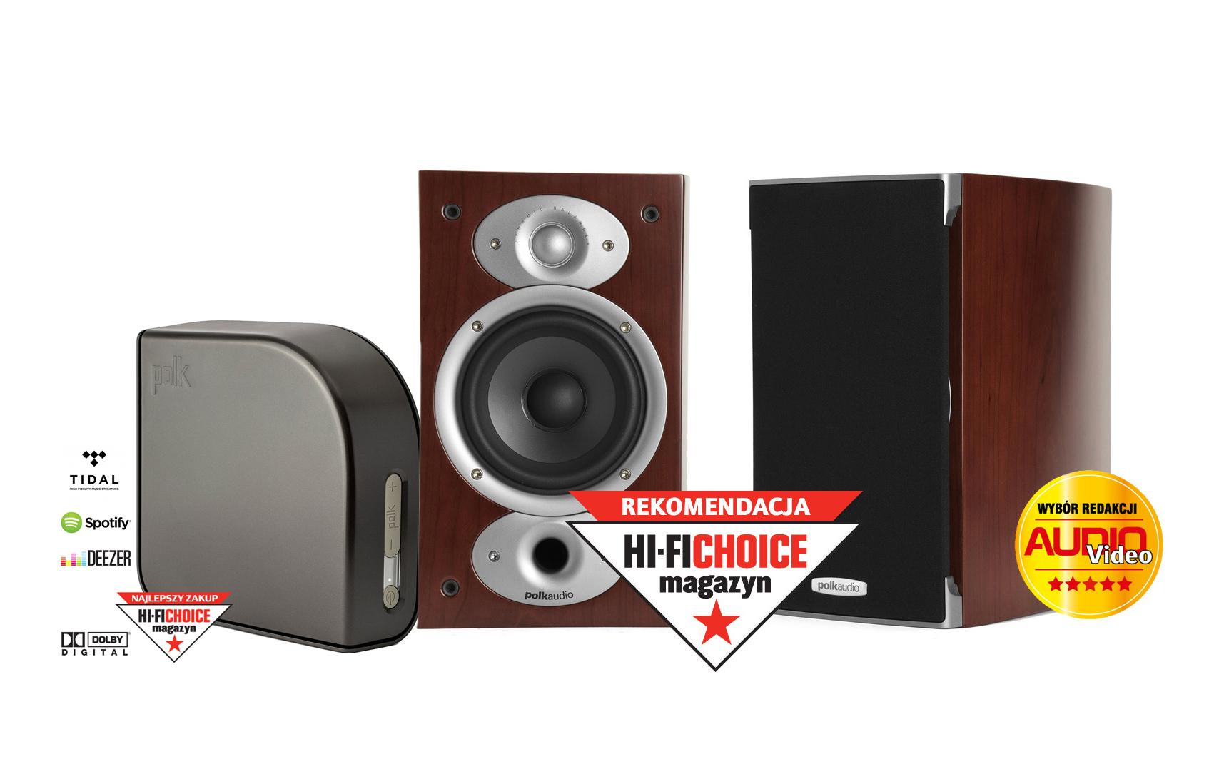 Bezprzewodowy zestaw stereo Polk Audio RTi A1 (RTiA1) Kolumny podstawkowe (surround) + Polk Audio Omni A1 bezprzewodowy wzmacniacz Wi-Fi DTS Play-Fi