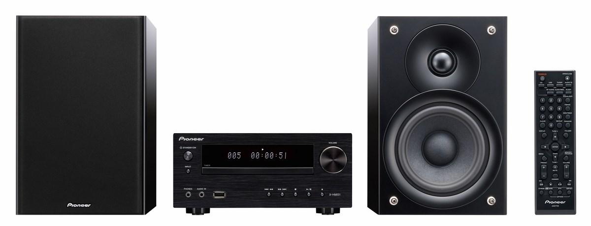 Pioneer X-HM51 (XHM51) Zestaw stereo (miniwieża) z USB, Bluetooth i obsługą Apple (iPhone, iPod, iPad) Kolor: Czarny błyszczący Polska Gwarancja