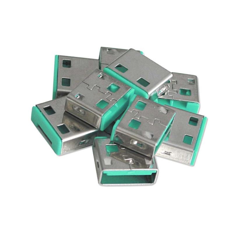 Lindy 40461 Blokada (bloker) portu USB (zielony) - 10 szt. (bez klucza) Polska Gwarancja