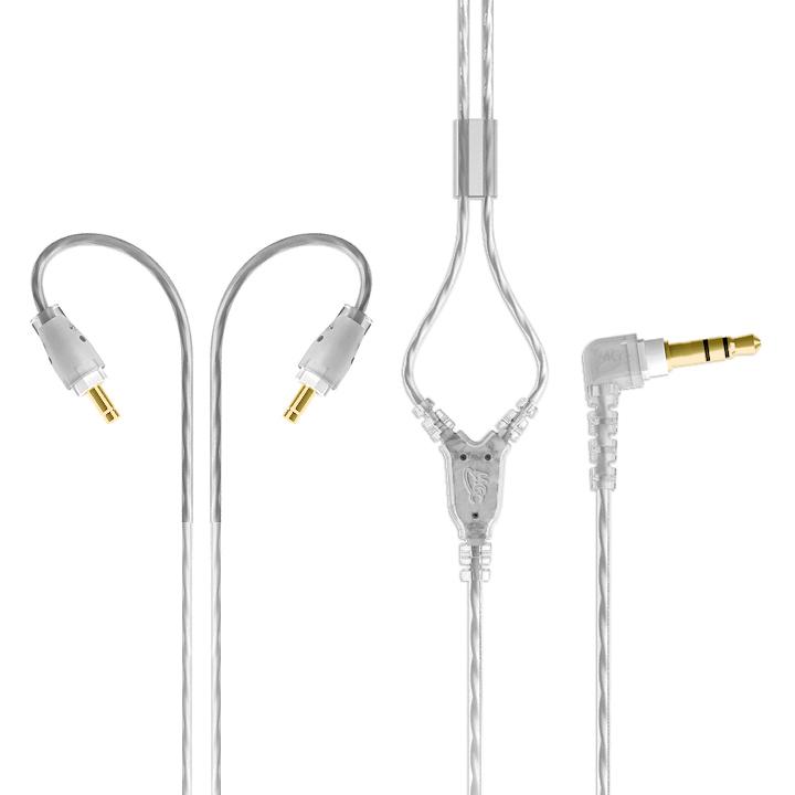 Mee Audio kabel zamienny (zapasowy) do słuchawek M6 Pro (opcja: z mikrofonem i pilotem) 1.3m  Kolor: Czarny, Sterowanie i mikrofon: Bez sterowania i m