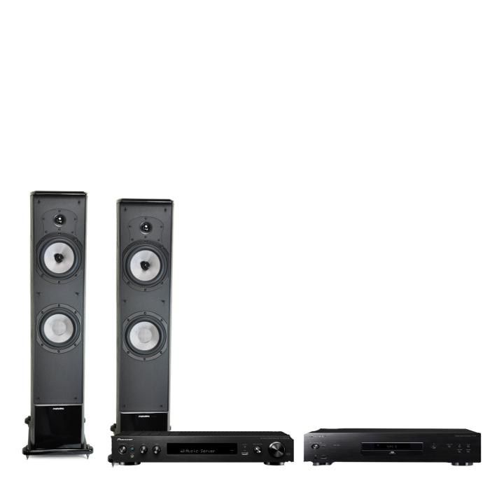 Zestaw stereo Melodika BL40 MKII (MK2 nowa wersja) kolumny podłogowe stereo - 2szt + Pioneer SX-N30DAB (SXN30DAB) Amplituner stereo ze Spotify, DAB+,