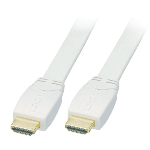Lindy 41165 Kabel cyfrowy HDMI - HDMI płaski biały 1.4/2.0 (Standard Speed) Full HD - 7,5m Polska Gwarancja