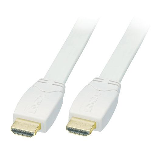 Lindy 41160 Kabel cyfrowy HDMI - HDMI płaski biały 1.4/2.0 (Standard Speed) Full HD - 0,5m Polska Gwarancja