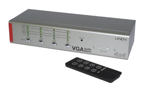 Switch (przełącznik) Matrix VGA/Audio (DSUB15+jack 3,5mm) (4xIN-4xOUT Full Matrix) Lindy 32578 Polska Gwarancja