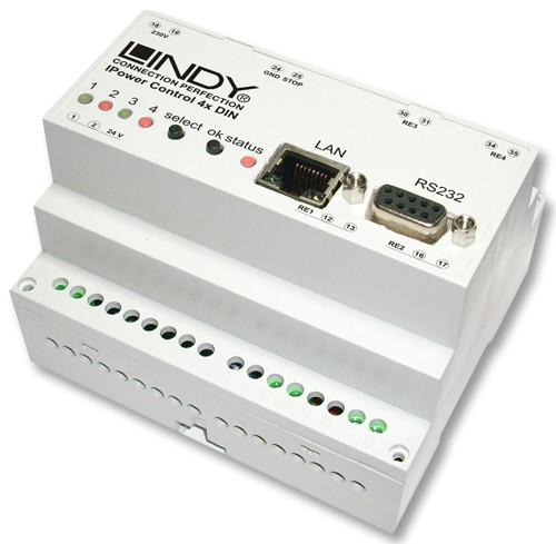 Lindy 32655 IPower Control Przełącznik zasilania (4 porty) przez LAN lub RS232 Polska Gwarancja