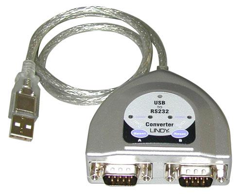 Lindy 42889 Konwerter, adapter USB 2.0 -> 2 x RS232 - 0,6m Polska Gwarancja