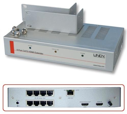 Lindy 38010 Przekaźnik, rozdzielacz CAT5e/6 z 8 portami RJ45 HDMI Polska Gwarancja